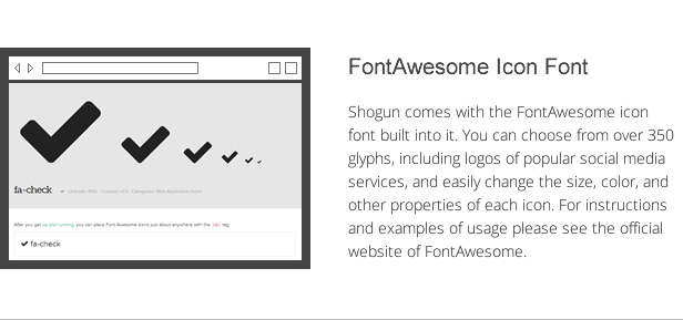 shogun features - fontawesome icon font
