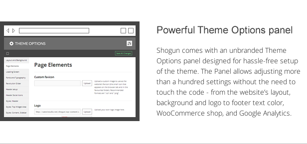 shogun features - powerful theme options panel