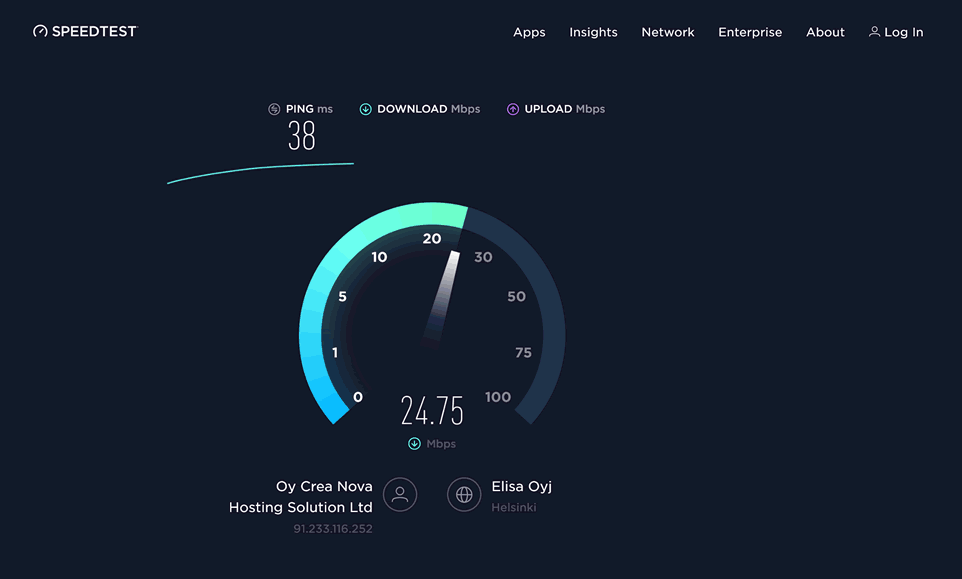 HMA on Ookla Speedtest