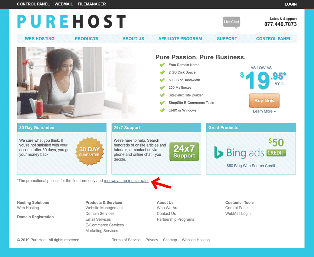 PureHost pricing asterisk