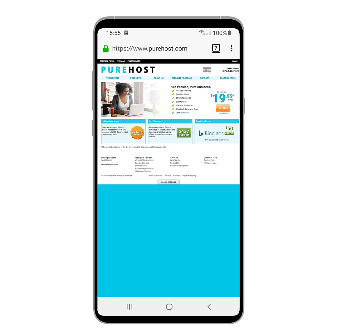 PureHost on a smartphone