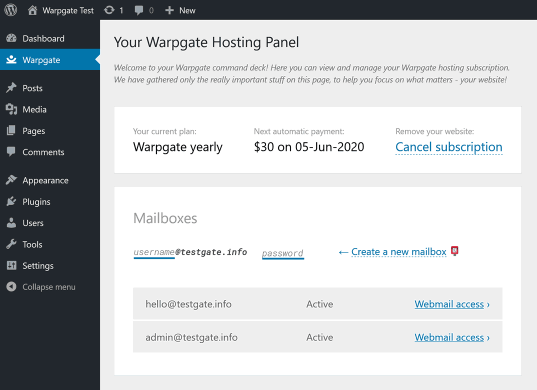 Warpgate hosting panel