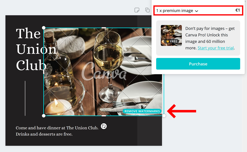 Canva: the watermarks