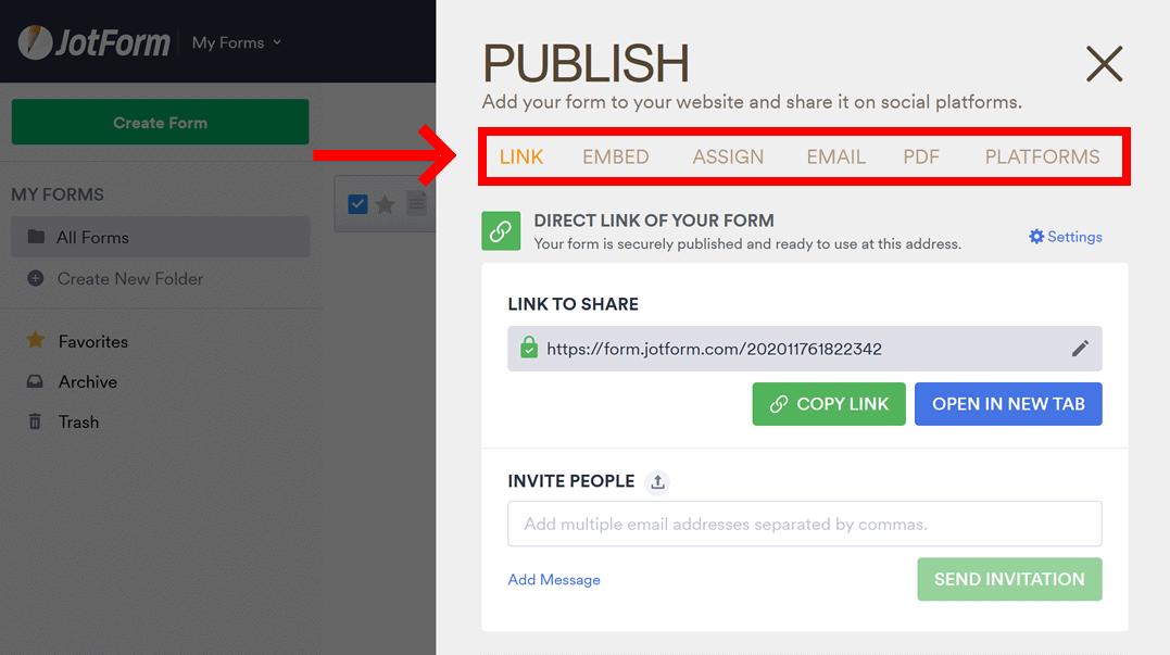 JotForm publishing