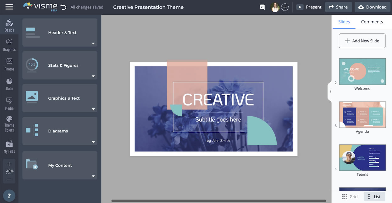 Visme Interface: Presentation