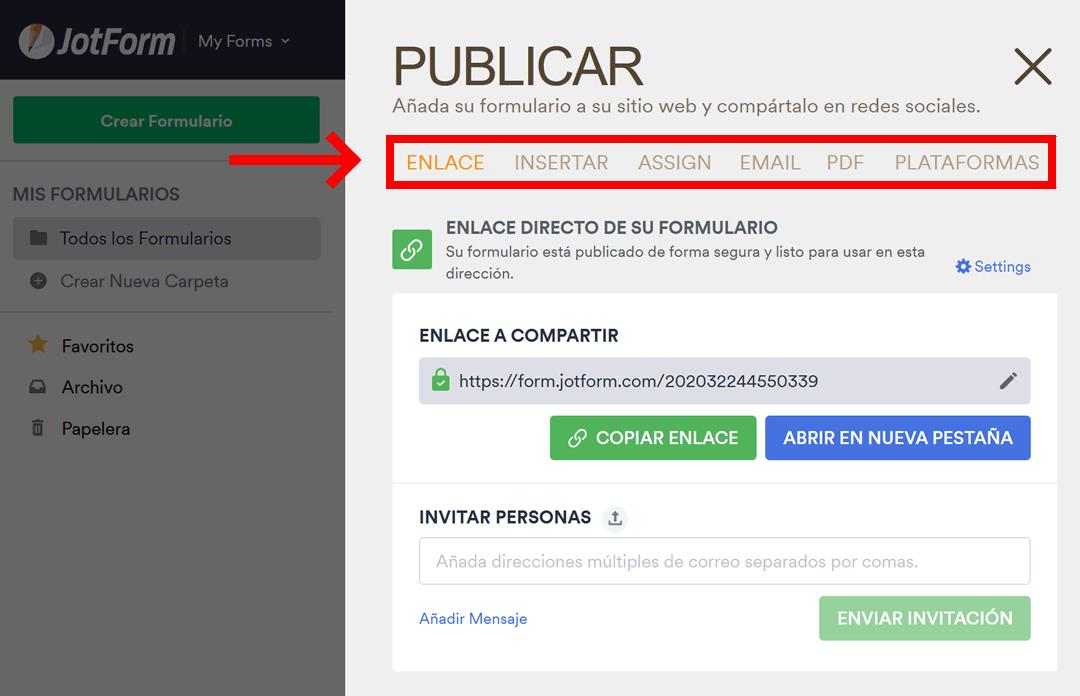 JotForm: publicar