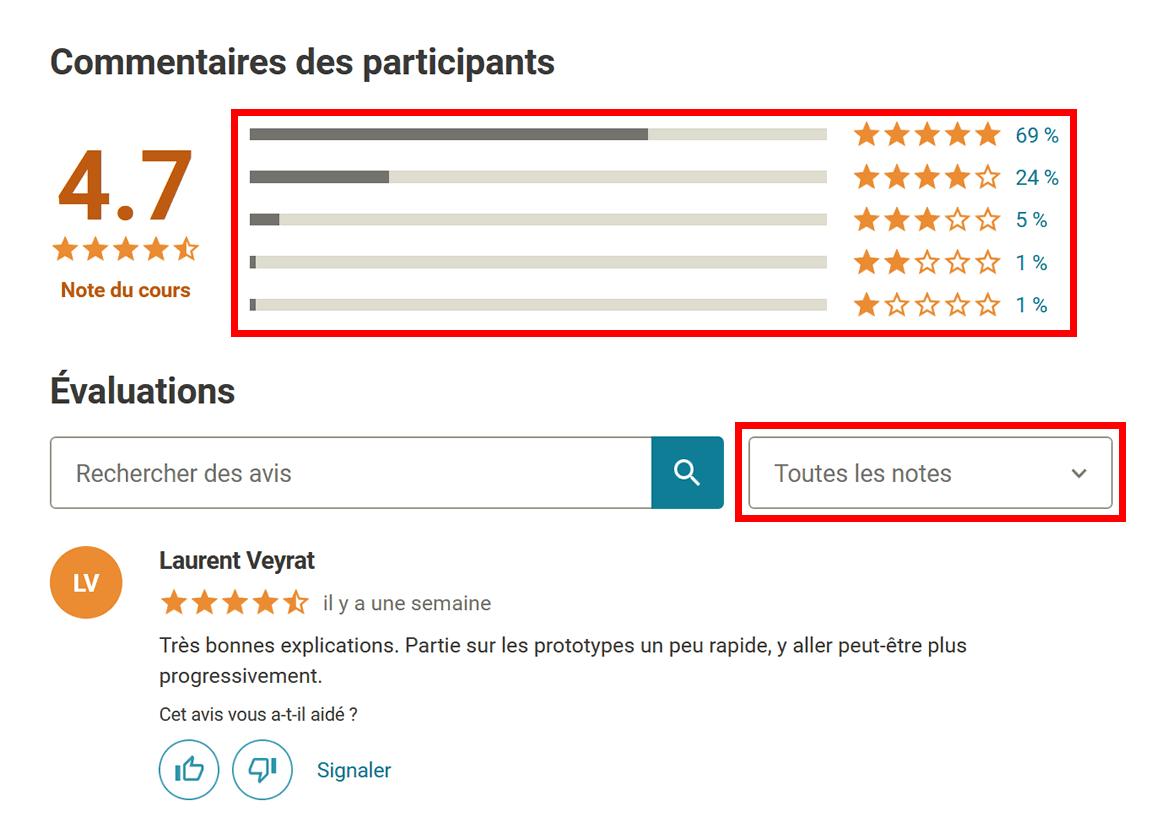 Udemy : commentaires des participants