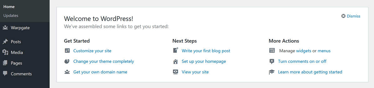 WordPress standard welcome