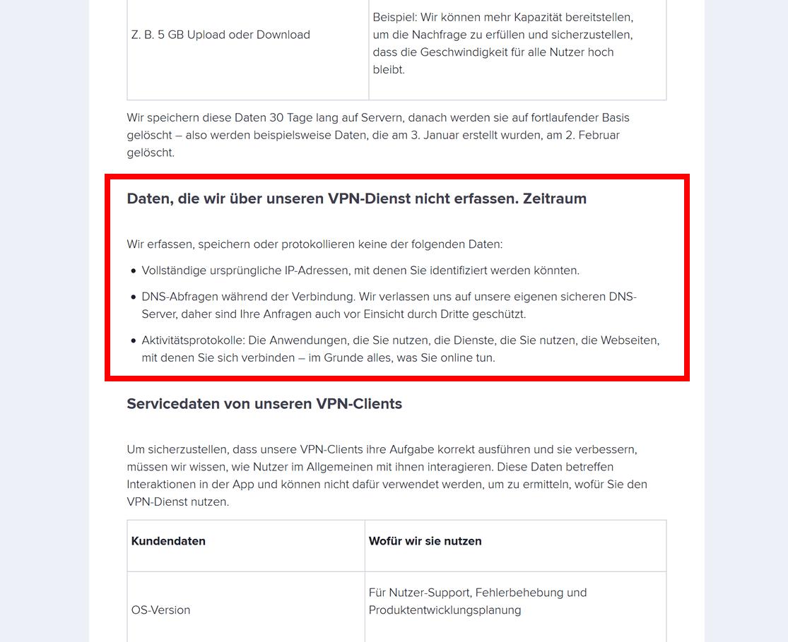 Avast VPN No-Logs-Richtlinie