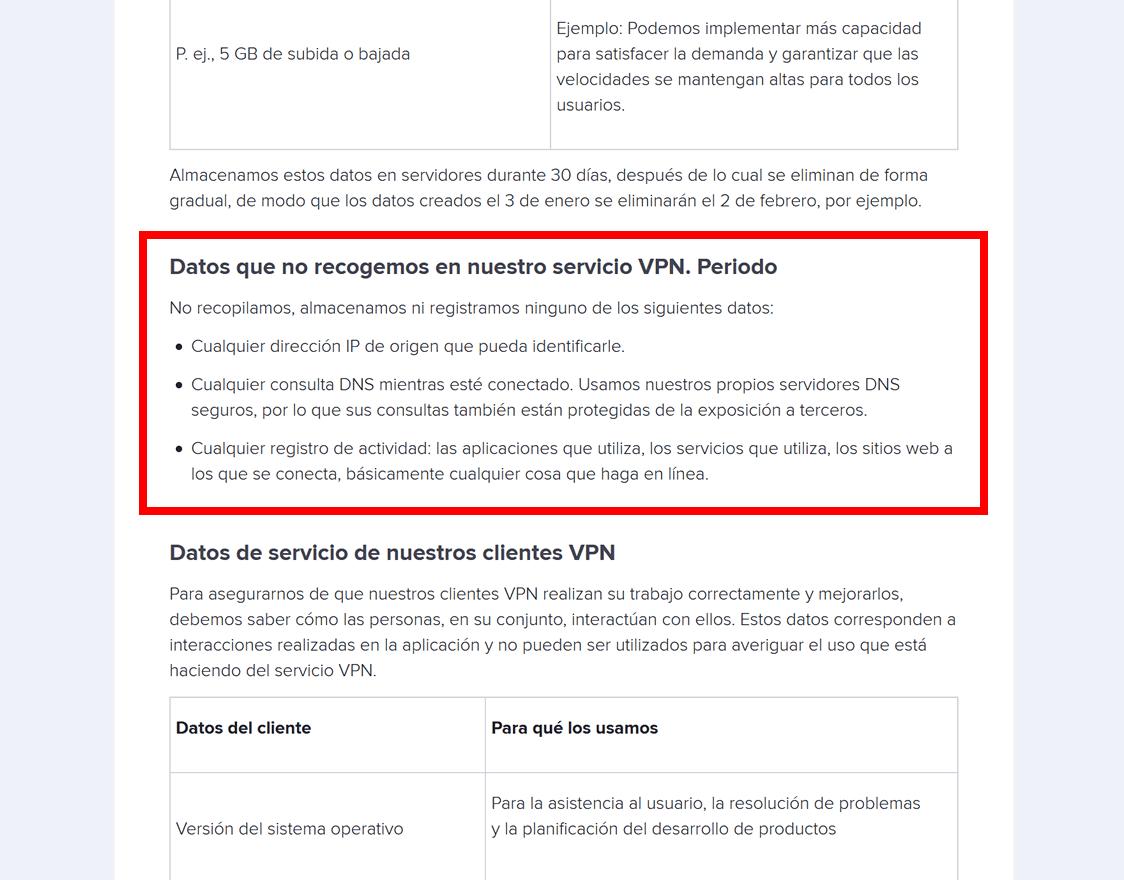 Avast Secureline VPN: principio de no-registros